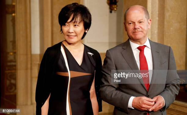 First Mayor of Hamburg Olaf Scholz welcomes Akie Abe wife of Japanese Prime Minister Shinzo Abe prior to the partner program of G20 summit on the...