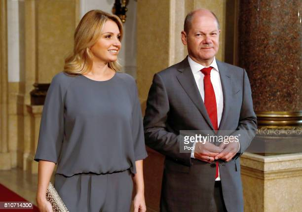 First Mayor of Hamburg Olaf Scholz welcomes Angelica Rivera during the partner program of G20 summit at the Hamburg Town Hall prior to the partner...