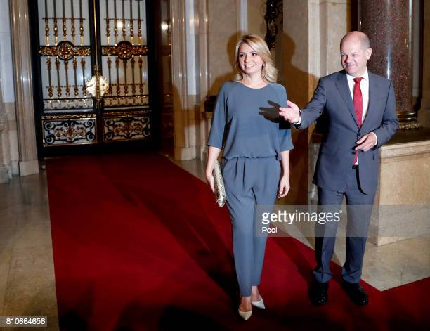 First Mayor of Hamburg Olaf Scholz welcomes Angelica Rivera partner of Mexico's President Enrique Pena Nieto prior to the partner program of G20...