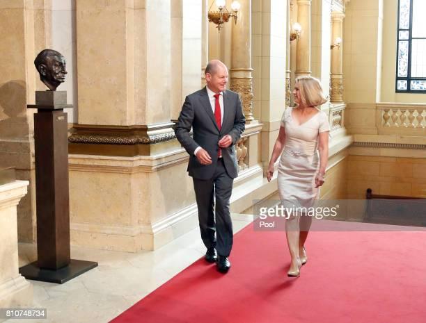 First Mayor of Hamburg Olaf Scholz welcomes Malgorzata Tusk wife of European Council President Donald Tusk during the partner program of G20 summit...