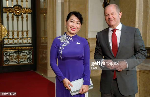 First Mayor of Hamburg Olaf Scholz welcomes Tran Nguyet Thu wife of Prime Minister of Vietnam Nguyen Xuan Phuc during the partner program of G20...