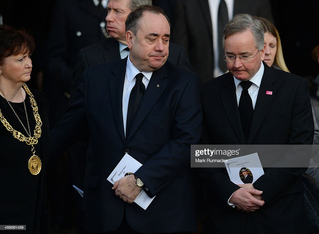 First Minister Alex Salmond and the Leader of Glasgow City Council Gordon Mathieson leave the funeral service at St Andrews Cathedral for PC Kirsty...