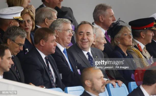 First Minister Alex Salmond as Queen Elizabeth II officially named Royal Navy's new aircraft carrier HMS Queen Elizabeth during a visit to Rosyth...