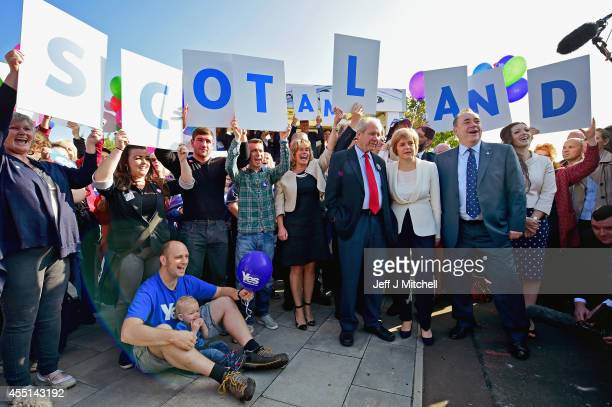 First Minister Alex Salmond Deputy First Minister Nicola Sturgeon and former deputy leader of the SNP Jim Sillars campaign with ''Yes'' activists in...