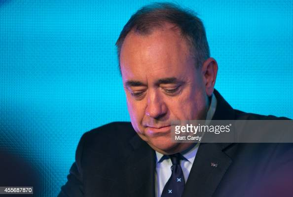 First Minister Alex Salmond First Minister Alex Salmond delivers a speech to supporters at Our Dynamic Earth on September 19 2014 in Edinburgh...