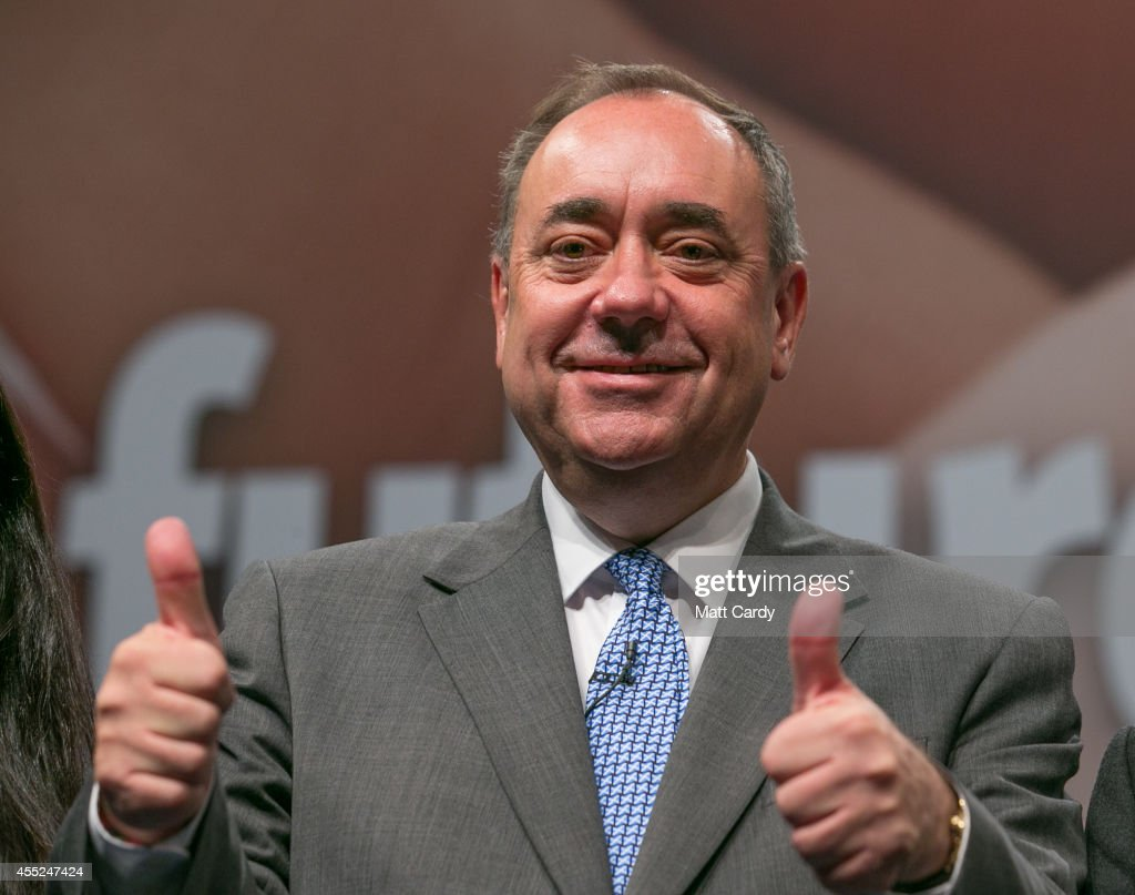 First Minister <a gi-track='captionPersonalityLinkClicked' href=/galleries/search?phrase=Alex+Salmond&family=editorial&specificpeople=857688 ng-click='$event.stopPropagation()'>Alex Salmond</a> gestures at the end of a press conference at the Edinburgh International Conference Centre on September 12, 2014 in Edinburgh, Scotland. Voters will go to the polls a week today to decide whether Scotland should become an independent country and leave the United Kingdom.