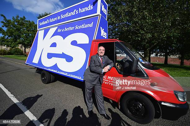 First Minister Alex Salmond meet fans of Dundee and Dundee United football club who are voting Yes in this months referendum on September 1 2014 in...