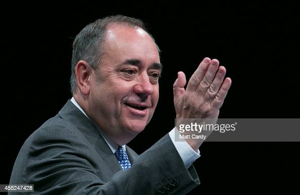First Minister Alex Salmond speaks during a press conference at the Edinburgh International Conference Centre on September 12 2014 in Edinburgh...
