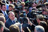 First Minister Alex Salmond speaks to the media as he campaigns in Piershill Square with ''Yes'' activists on September 10 2014 in Edinburgh Scotland...