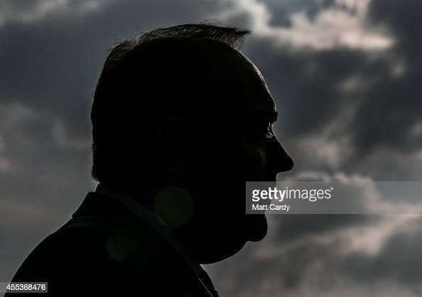 First Minister Alex Salmond speaks to the media as he visits campaigns in a suburb of Glasgow on September 13 2014 in Glasgow Scotland The latest...