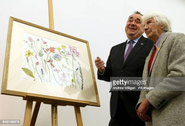 First Minister Alex Salmond with artist Dame Elizabeth Blackadder at the unveiling of his Christmas card for 2012 at the Royal Botanic Garden in...