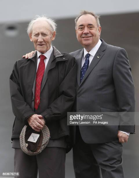 First Minister Alex Salmond with father Robert Salmond as Queen Elizabeth II officially named Royal Navy's new aircraft carrier HMS Queen Elizabeth...