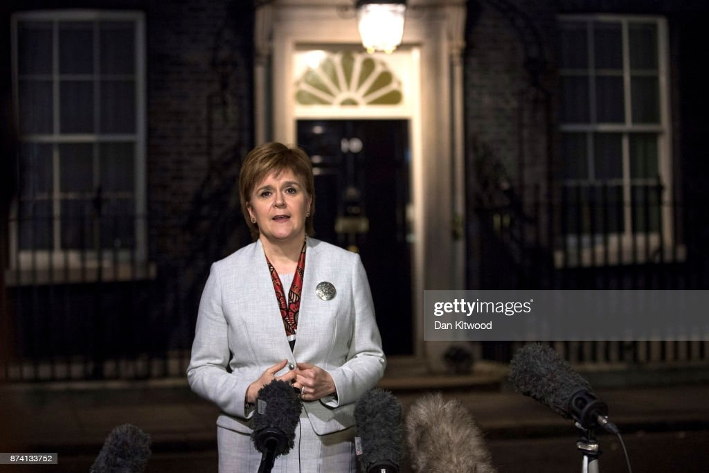 First Minister and Scottish National Party Leader Nicola Sturgeon leaves 10 Downing Street to speak to the press on November 14, 2017 in London, England. The SNP leader travelled to Downing Street for her first face-to-face talks with Britain's Prime Minister Theresa May since March.