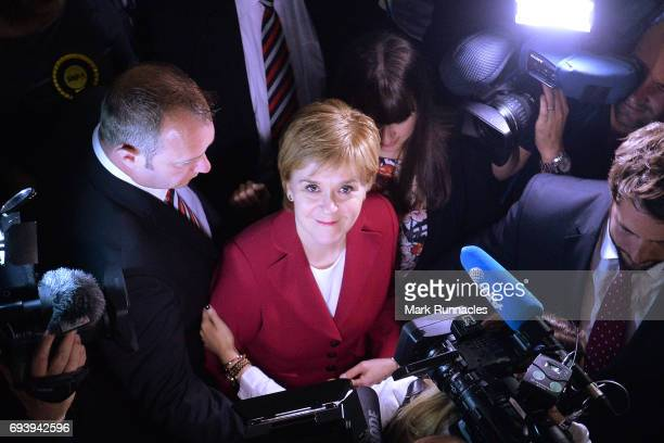 First Minister and SNP Leader Nicola Sturgeon arrives at the counting hall during the UK Parliamentary Elections at the Emirates Arena on June 9 2017...