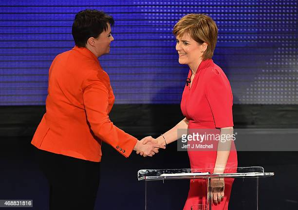 First Minister and SNP leader Nicola Sturgeon shakes hands with Scottish Conservative leader Ruth Davidson following the Scottish Television Debate...