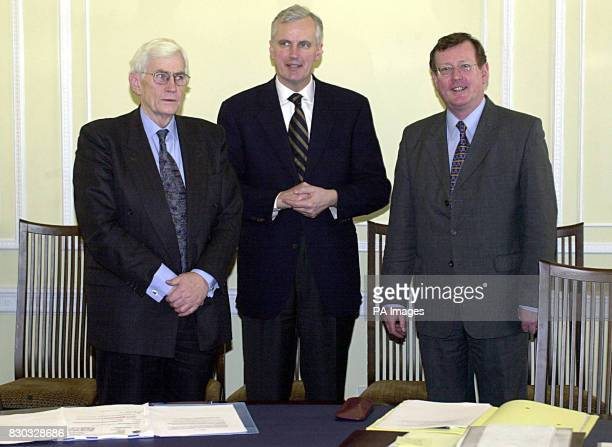 First Minister David Trimble MP and Deputy First Minister Seamus Mallon MP with Michel Barnier European commissioner for regional policy The First...