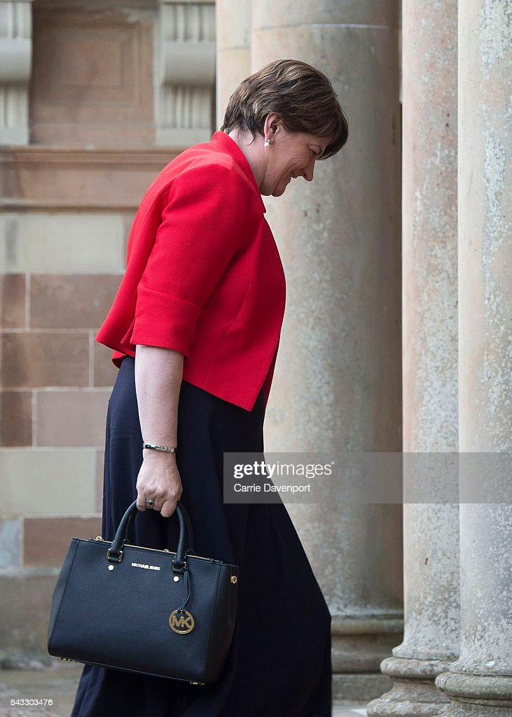 First Minister for Northern Ireland <a gi-track='captionPersonalityLinkClicked' href=/galleries/search?phrase=Arlene+Foster&family=editorial&specificpeople=2483042 ng-click='$event.stopPropagation()'>Arlene Foster</a> arrives at Hillsborough Castle to meet Queen Elizabeth II and Prince Philip, Duke of Edinburgh (not pictured) on June 27, 2016 in Belfast, Northern Ireland.