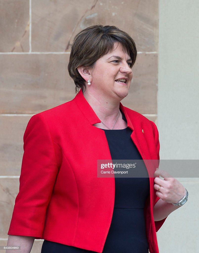 first Minister for Northern Ireland <a gi-track='captionPersonalityLinkClicked' href=/galleries/search?phrase=Arlene+Foster&family=editorial&specificpeople=2483042 ng-click='$event.stopPropagation()'>Arlene Foster</a> arrives at Hillsborough Castle to meet Queen Elizabeth II and Prince Philip, Duke of Edinburgh on June 27, 2016 in Belfast, Northern Ireland.
