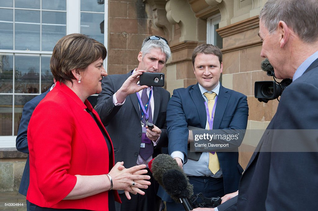 first Minister for Northern Ireland <a gi-track='captionPersonalityLinkClicked' href=/galleries/search?phrase=Arlene+Foster&family=editorial&specificpeople=2483042 ng-click='$event.stopPropagation()'>Arlene Foster</a> is interviewed by press after her meeting with Queen Elizabeth II and Prince Philip, Duke of Edinburgh at Hillsborough Castle on June 27, 2016 in Belfast, Northern Ireland.