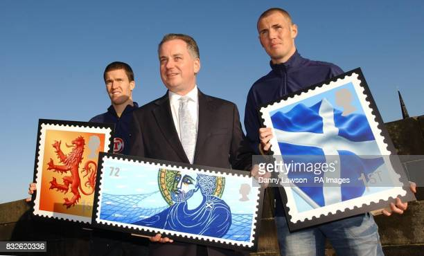 First Minister Jack McConnell is joined by Scotland footballers Gary Caldwell and Kenny Miller to unveil a new set of stamps featuring iconic images...