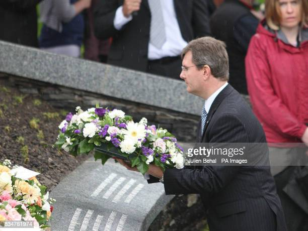 First Minister Jeffrey Donaldson lays a wreath on the streets of Omagh on the 10th anniversary of the Northern Ireland conflict's bloodiest massacre...