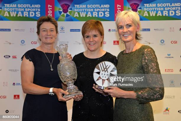 First Minister Nicola Sturgeon 2019 Solheim Cup European Captain Catriona Matthew and Judy Murray pose together on the red carpet at the Scottish...