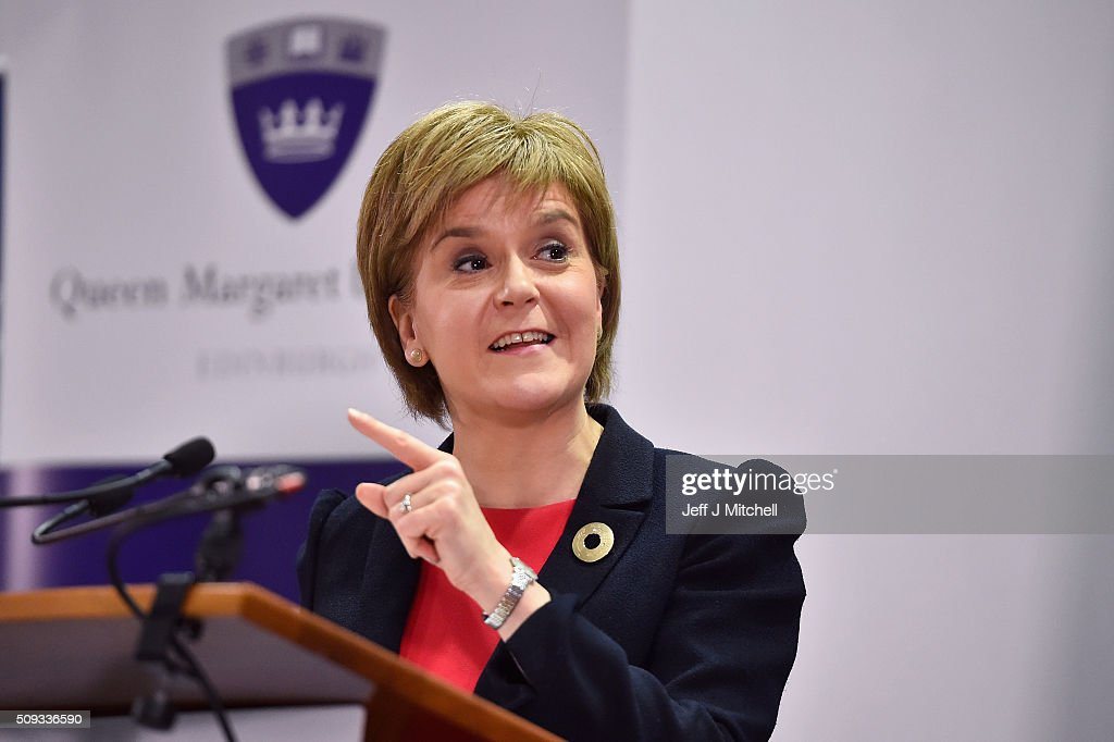 First Minister <a gi-track='captionPersonalityLinkClicked' href=/galleries/search?phrase=Nicola+Sturgeon&family=editorial&specificpeople=2582617 ng-click='$event.stopPropagation()'>Nicola Sturgeon</a> addresses students at Queen Margaret University on February 10, 2016 in Mussleburgh, Scotland. The First Minister set out her vision for the future of health and care services in Scotland during her speech to the students at the university.