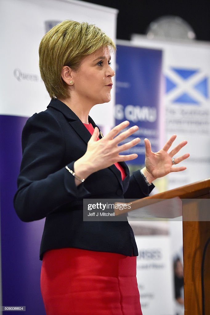 First Minister Nicola Sturgeon addresses students at Queen Margaret University on February 10, 2016 in Mussleburgh, Scotland. The First Minister set out her vision for the future of health and care services in Scotland during her speech to the students at the university.