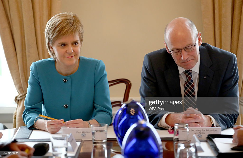 First Minister <a gi-track='captionPersonalityLinkClicked' href=/galleries/search?phrase=Nicola+Sturgeon&family=editorial&specificpeople=2582617 ng-click='$event.stopPropagation()'>Nicola Sturgeon</a> and Deputy First Minister John Swinney attend an emergency cabinet meeting at Bute House on June 25, 2016 in Edinburgh. The government team gathered in Edinburgh to discuss the next steps they will take after the UK voted to leave the European Union by a margin of 52% to 48%.