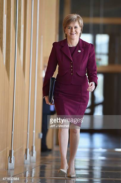 First Minister Nicola Sturgeon and leader of the SNP attends First Ministers questions at the Scottish Parliament on April 30 2015 in Edinburgh...