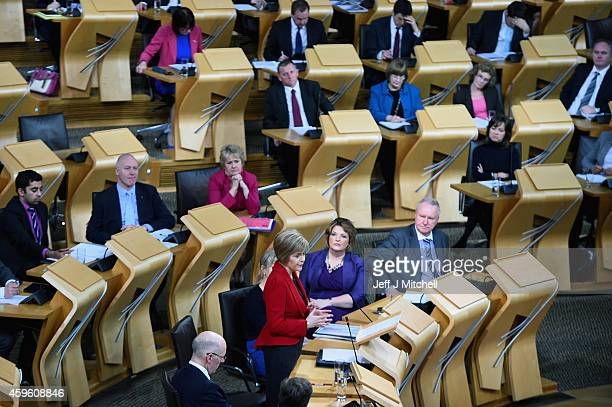 First Minister Nicola Sturgeon announces her programme for government to the Scottish Parliament on November 26 2014 in Edinburgh Scotland Ms...