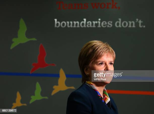 First Minister Nicola Sturgeon as she visits Genpact on March 29 2017 in Glasgow Scotland Professional services firm Genpack have announced the...