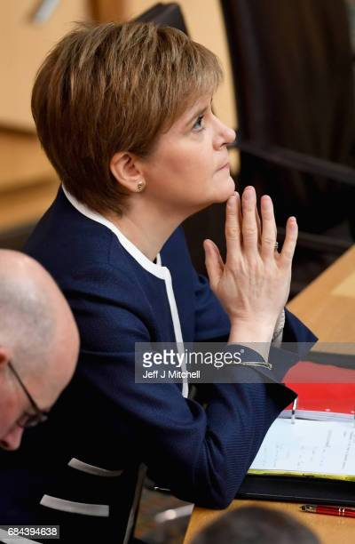 First Minister Nicola Sturgeon attends first minister's questions at the Scottish Parliament on May 18 2017 Edinburgh Scotland