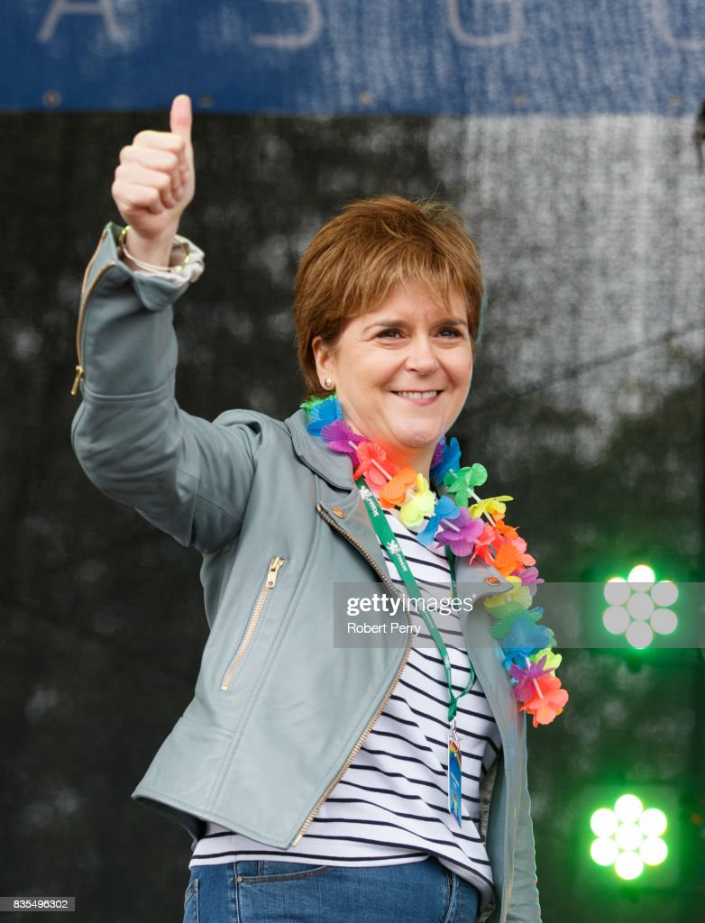 First Minister Nicola Sturgeon gives the thumbs up as she addresses the assembled crowd at Glasgow Pride on August 19, 2017 in Glasgow, Scotland. The largest festival of LGBTI celebration in Scotland is held every year in Glasgow since 1996.