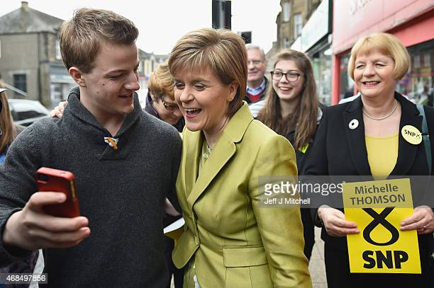 First Minister Nicola Sturgeon greets supporters on the campaign trail on April 4 2015 in Edinburgh Scotland SNP Leader Nicola Sturgeon today set out...