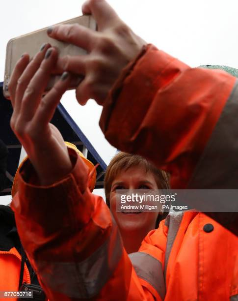 First Minister Nicola Sturgeon has her picture taken at a launch ceremony for the liquefied natural gas passenger ferry MV Glen Sannox the UK's first...