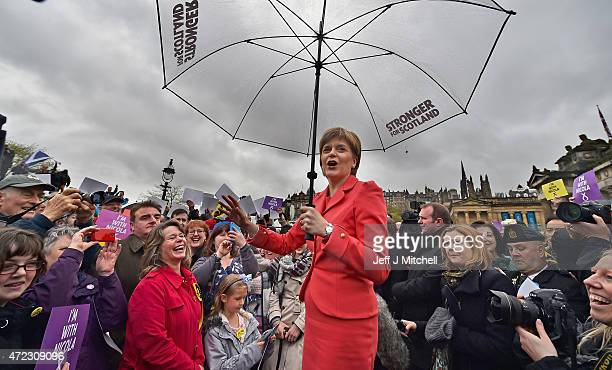 First Minister Nicola Sturgeon marks the final day of campaigning in the general election with a speech to activists at the Mound on May 6 2015 in...