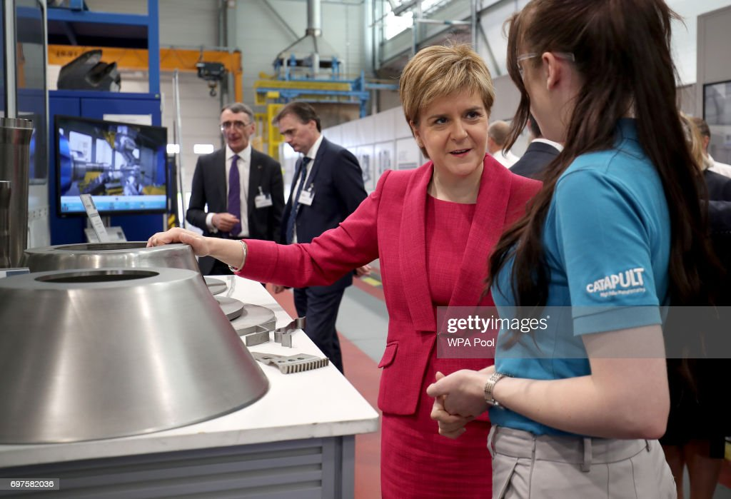 First Minister Nicola Sturgeon meets engineers during a visit to the Advanced Forming Research Centre in Renfrew where she took a tour of the facility before making an announcement relating to the manufacturing industry in a speech to an audience of business representatives, on June 19, 2017 in Renfrew, Scotland.
