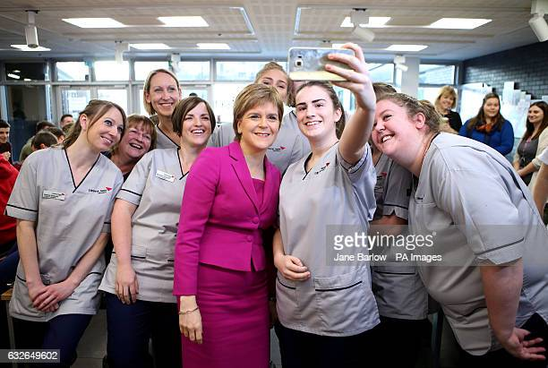 First Minister Nicola Sturgeon poses for a selfie with nursing and midwifery students during a visit to Edinburgh Napier University