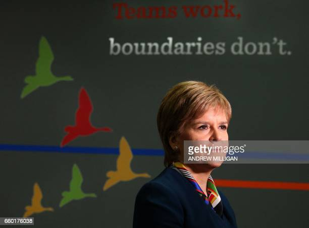 First Minister Nicola Sturgeon speaks as she visits Genpact an Indian multinational in Glasgow on March 29 2017 Britain launched the process to leave...
