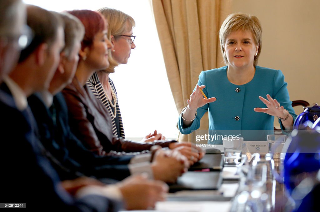 First Minister Nicola Sturgeon (right) speaks during an emergency cabinet meeting at Bute House on June 25, 2016 in Edinburgh. The government team gathered in Edinburgh to discuss the next steps they will take after the UK voted to leave the European Union by a margin of 52% to 48%.
