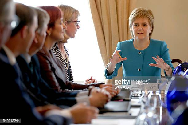 First Minister Nicola Sturgeon speaks during an emergency cabinet meeting at Bute House on June 25 2016 in Edinburgh The government team gathered in...