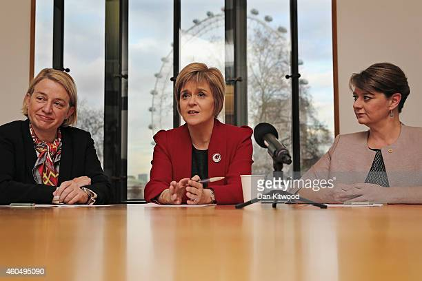 First Minister Nicola Sturgeon the leader of Plaid Cymru Leanne Wood and the leader of the Green Party of England and Wales Natalie Bennett speak to...