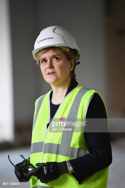 First Minister Nicola Sturgeon visits the Computershare's new office to announce new jobs in the city on June 26 2017 in Edinburgh Scotland The First...
