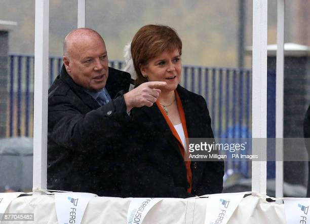 First Minister Nicola Sturgeon with Jim McColl at a launch ceremony for the liquefied natural gas passenger ferry MV Glen Sannox the UK's first LNG...