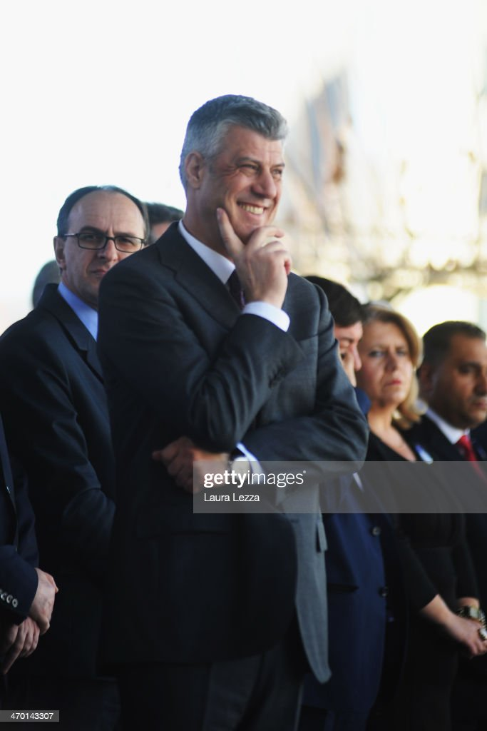 First Minister of Kosovo <a gi-track='captionPersonalityLinkClicked' href=/galleries/search?phrase=Hashim+Thaci&family=editorial&specificpeople=781147 ng-click='$event.stopPropagation()'>Hashim Thaci</a> attends the parade on February 17, 2014 in Pristina, Kosovo. Kosovo celebrates the sixth anniversary of its declaration of inde-pendence from Serbia occurred on 17 February 2008. Kosovo celebrates the sixth anniversary of its declaration of independence from Serbia which took place on February 17, 2008. Today 5,000 troops from the NATO led Kosovo force (KFOR) provided by 31 different countries perform support operations to build stability in this complex Balcanian area. Italy has the command of KFOR mission and deploys 500 Army soldiers and Carabinieri in the west area of Kosovo and in the North municipality of Mitrovica. Kosovo is now recognized by 106 countries worldwide.