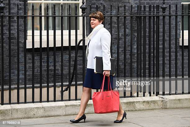 First Minister of Northern Ireland Arlene Foster arrives ahead of a meeting between British Prime Minister Theresa May and the leaders of the three...