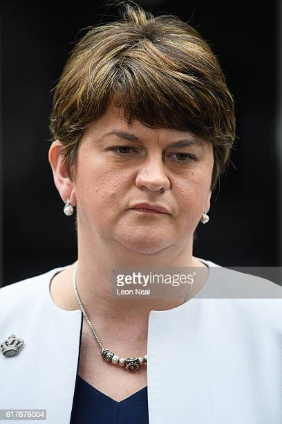 First Minister of Northern Ireland Arlene Foster speaks to journalists after a meeting between British Prime Minister Theresa May and the leaders of...