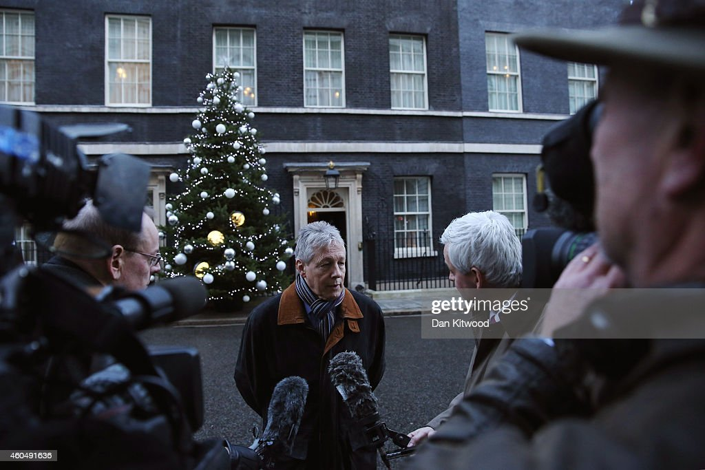 First Minister of Northern Ireland, Peter Robinson speaks to reporters outside 10 Downing Street on December 15, 2014 in London, England. Peter Robinson and other Northern Ireland leaders met with British Prime Minister David Cameron today for talks including breaking the deadlock on issues hanging over from the peace process.