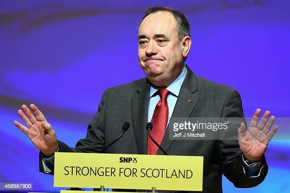 First Minister of Scotland Alex Salmond makes his last key note speech as party leader of the SNP at the partys annual conference on November 14 2014...